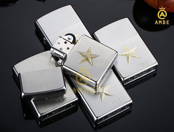 hộp quẹt zippo satin hình ngôi sao