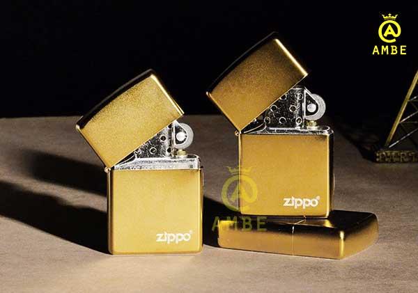 bật lửa zippo satin gold