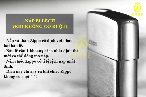 zippo bị lệch nắp khi không có ruột