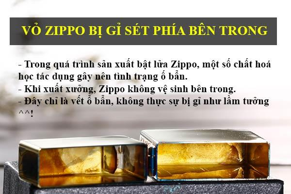 vỏ zippo bị gỉ phía bên trong
